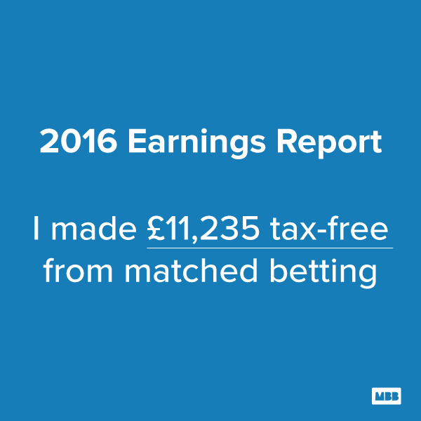 2016 Matched Betting Earnings Report
